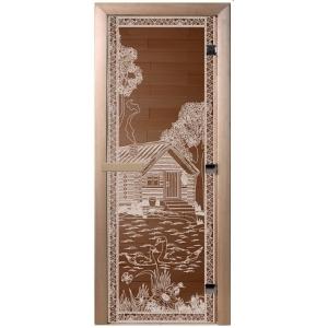 """Дверь бронза """"Банька в лесу"""" 1900*700*6 мм"""